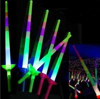 disco çubuğu toptan satış-Glow Stick LED Renkli çubuklar led yanıp sönen Kılıç ışık tezahürat parti Disko kızdırma değnek Futbol Müzik konser Tezahürat sahne ödül hediye