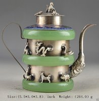 Wholesale Antique Chinese Tea - Exquisite Chinese handmade Old Artificial Jade Inlaid with Tibetan Silver Zodiac Animals Exorcist Collectable Tea Pot