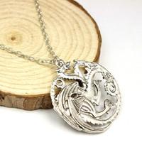 Wholesale Vintage Jewlry - Pendant Necklaces vintage jewlry Mortal Kombat necklace dragon Targaryen long dragon alloy necklace wholesale free shipping