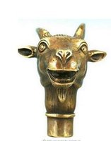 Wholesale Asian Statues - bronze Pure Copper Brass Grandpa Good Lucky Asian Chinese Old Bronze Hand Carved Collect Sheep Statue Walking Stick Head