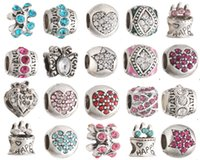 Wholesale millefiori murano glass bracelets - 20pcs Fits Pandora Charm Bracelet Mixed Charm Beads 925 Sterling Silver Murano Glass Bead Enamel Loose Charms For Diy European Snake Chain