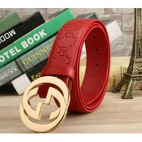 Wholesale Red Belt White Dots - 2017 brand belts high quality g belt for men fashion designer belt luxury cow genuine leather belt Gold buckle waistband with box