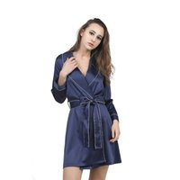 Wholesale Home Sexy Woman Robe - High Grade Satin Chiffon Robe Solid Spring Summer Sexy Women Bathrobe Home Clothes Sleepwear Bath Robes Women's Dressing Gown