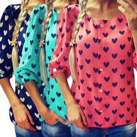 Wholesale Chiffon Blouses Designs - 2016 New Design 3 Colors Fashion Womens Ladies Loose Chiffon Tops Long Sleeve T-Shirt Casual Blouse Free Shipping CL097