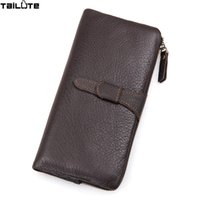 Wholesale Leather Long Billfolds - TAILUTE 100% genuine leather bag Long Size Cowhide Purse real mens wallet leather genuine vintage man bag multi-card billfold