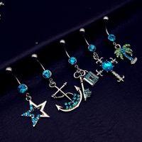 ancla piercing de ombligo al por mayor-5 unids / lote 2017 mix style vintage blue star cruz árbol de anclaje bloqueo de teclas cuelga ombligo ombligo barra botón anillos body piercing conjuntos de joyas