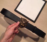 Wholesale Women S Wide Belt - Hot Sale Fashion Luxury TOP quality Tiger head Brand Genuine Leather Belt Black Cowskin G Belt For Men