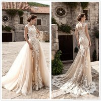 Wholesale Trumpet Line Wedding Dresses - New Vintage Champagne Lace Mermaid Wedding Dresses 2017 Sheer Neck Cap Sleeve Tulle Applique A-Line Court Train Wedding Gown With Over Skirt