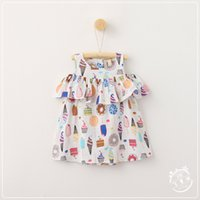 Wholesale Childrens Cartoon Summer Clothes - 2017 Girls Cartoon Floral Dresses Baby Girl Fashion Off-shoulder Dress Babies Summer Korean clothing childrens clothes
