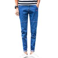 мужская мода джинсы новые оптовых-Wholesale- 2017 New Brand Mens Jeans,High Quality Fashion Jeans Men, black gray Blue Men pencil Jeans N-ZK013