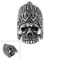 Wholesale Skull Ring Ancient - Ancient Maya Mystery Emperors Skulls Titanium Steel Rings R149-8 Free shipping