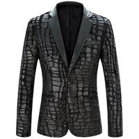 Wholesale Men S Euro Jackets - Men Blazer Jacket 2015 New Brand Casual Faux Leather Spliced Velvet Suit Fashion Pieces Design Blazer Z1751-Euro