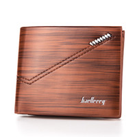 Wholesale Texture Dress - Hot Sale Vintage PU Leather Men's Wallets Bevel Striped Texture Quality 3 Folds Middle Hard ID Credit Card Holder Purses Wallet Carteira