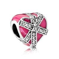 Wholesale Pandora Cross Charm New - New 925 Sterling Silver Bead Charm Glossy Enamel Magenta Present Of Love With Crystal Beads Fit Women Pandora Bracelet Bangle Jewelry HK3717