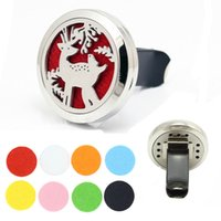 Wholesale Airs Deer - Xmas Deer 316L Stainless Steel 30mm Round Magnetic Locket Aromatherapy Perfume Essential Oil Diffuser Vent Clip Car Auto Air Freshener