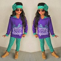 Wholesale Girl Clotes - 2017 Girls Baby Childrens Clothing Sets Mermaid Letters Hoodies Pants Headbands Set Toddler Kids Long Sleeve Sweatshirts Boutique Clotes