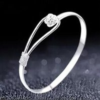 Wholesale Sterling Silver Bangles Valentine - Romantic flower bracelet 925 sterling silver bracelet for women wholesale valentine star with money to send his girlfriend 10 pcs free shipp