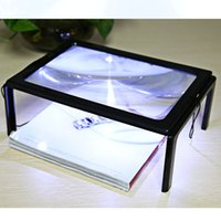 Wholesale Lighted Desk Magnifiers - NEW On sale 4 LED Lights Foldable Desk A4 Full Page Large Reading Hands Free 3X Magnifier for Reading Support Wholesale