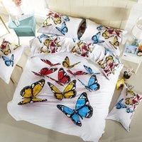 Wholesale 3d Butterfly Comforter Set - 3D Bedding Set A few Butterflies Full Size Home Textiles Duvet Covers Bed Linen Pillow Cases Wholesale Home Textile