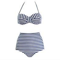 Wholesale Swim Neon - New 2016 bikini women bathing suits Cut-out bikini set Vintage push up Biqini High Waist Swimsuit Neon Beachwear swim wear