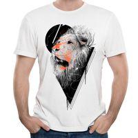 0a3eea04df98 Wild animal print T-shirt lion man s short sleeve tshirts classic O-neck  tee loose design for cool guys Hunger Strike