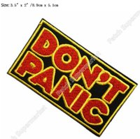 """Wholesale Galaxy Costume - 3.5"""" Hitchhiker's Guide to the Galaxy Don't Panic Movie TV Series Costume Embroidered iron on patch Tshirt TRANSFER APPLIQUE"""
