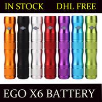Wholesale E Cigarette Vv Lava Tube - AAA+ EGO X6 Battery VV Battery Voltage Variable Lava Tube 1300mAh for E Cigarette EGO EVOD VISION spinner 2 ProTank DHL Free