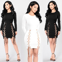 Wholesale White Mesh Panel Dress - 2017 New Women dress Mesh Lace Up Cross Criss Hollow Out Celebrity Style Bandage party Dresses