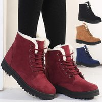 Wholesale Crust Rubber Boots - 5 colors 2016 winter snow boots thick crust Martin boots lace street classic warm cotton boots women's flat shoes