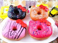 Wholesale Hello Kity Kids - 10cm Kawaii Hello Kity Doughnut Pendant Squishies Jumbo Donut Bag Charm Free Shipping Wholesale Keychain for Phone Large Rare Squishy Bread