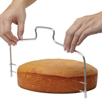 Wholesale Tools Cutting Cakes - New Double Line Adjustable Stainless Steel Metal Cake Cut Tools Cake Slicer Device Decorating Mold Bakeware Kitchen Cooking Tool