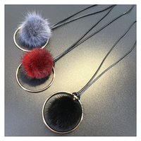 Wholesale Necklace Fur - Wholesale- 2016 new karma circle faux fur necklace fluffy pom pom statement necklace women jewelry D331