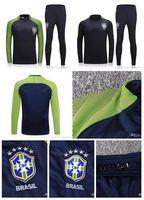 Wholesale Flashing Pants - Hot football jerseys-Brazil training suits Uniforms shirts Chandal NEYMAR JR tracksuits Survetement long sleeve tight pants With zipper