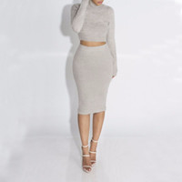 Wholesale long sweater pencil skirt - Autumn 2pcs Women Fleece Suit Set Long Sleeve Crop Top Pencil midi Skirt solid Bodycon Bandage Dress Sweater Tracksuit