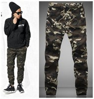 Wholesale Hanging Pants Men - Wholesale-2015 HOT Dnine autumn army fashion hanging crotch jogger pants patchwork harem pants men crotch big Camouflage pants trousers