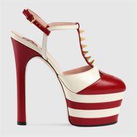 Wholesale Sexy Pumps Super High - Brand Designer Super High Heels 16cm Shoes 2017 Sexy Women Real Leather Platform Pumps Plus Size 42,43Eu Rivets Heel Shoes