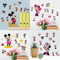 Wholesale Minnie Stickers - Wholesale- Hot sale Mickey Mouse Minnie Mouse Bathroom Decoration Cartoon Cute glass Wall Stickers Free shipping 20*30 CM