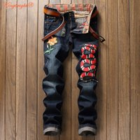 Wholesale Size 38 Ripped Jeans - Wholesale- King Bright 2017 Spring Men's Snake Embroidery Denim Jeans Fashion Causal Jeans Ripped Men's Plus Size 29-38 Pants For 4 Season
