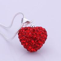 Wholesale Czech Diamond Heart Pendant - Free Shipping- European popular classic heart-shaped pink heart-shaped Czech diamond necklace N023 LKNSBN028