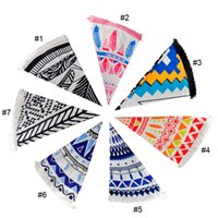 Wholesale Bohemian Swimsuit Top - Top Beach Towel Swimsuit Cover Up Hippie Boho Bohemian Summer Pareo Sarong Cloak Bathing Suit Tunic Round Tassel 150*150cm 2507011