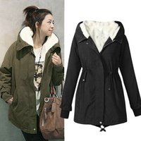 Wholesale Ladies Warm Coats - 1PC Ladies Fashion Hooded Parka Fleece Top Size M-XXXXXL Winter Warm Womens Long Coat Army Green Brand Design Parka Outwear