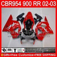 Wholesale Cbr954rr Fairings - Body For HONDA CBR900RR CBR954 RR CBR954RR 02 03 CBR900 RR 66NO15 glossy red CBR 900RR CBR 954 RR CBR 954RR 2002 2003 Fairing kit 8Gifts