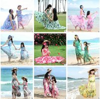 Wholesale Blue Mother S Dresses - Mother and Daughter Matching Dress Girls Mother Daughter Clothes Chiffon Dress Cotton Lining Floral Bohemian Beach Dress Family Clothing 107