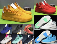 Wholesale white net lighting - Pharrell Williams Tennis HU 2 II Stan Smith Running Shoes Summer net surface Fashion Running Sneakers for mens yellow red pink Drop Shiping