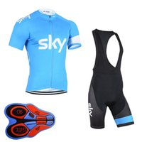 Wholesale Maillot Sky Pro Cycling - SKY Pro 100% Polyester Cycling jersey Short Sleeve 9D Pad Shorts Bicycle Clothing Quick-Dry maillot Ropa Ciclismo Bike E1905