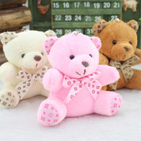 Wholesale Teddy Bears Small Size - Wholesale- Size Smallest 10CM Joint Bowtie Teddy Bear Mix Colors Plush TOY DOLL ; Plush Stuffed TOY Wedding Gift Bouquet Decor DOLL TOY