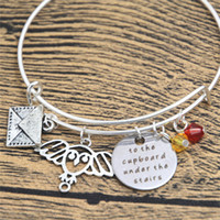 Wholesale Magic Letters - 12pcs Wizarding School of Magic Bracelet To the cupboard under the stairs Owl letter Wizard & Witch bangles crystals HP