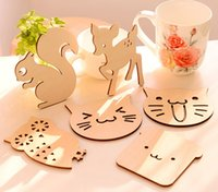 Atacado- ZAKKA Cute Animal Shaped Wood Coasters Tape Mat Placemats para decoração de mesa Grandes presentes SQ164