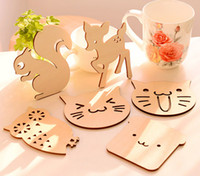 Vente en gros - ZAKKA Cute Animal Shaped Wood Coasters Cup Mat Placemats pour décorations de table Great Gifts SQ164