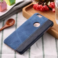 Wholesale Denim Phone Cases - Denim Contrast Color Stick PU Leather Matte Case for iPhone7 7 Plus Hard Back Cover for iPhone6 6s Plus Protective Phone Cases